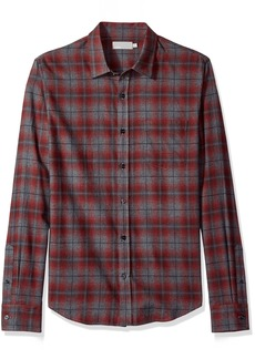 Vince Men's Window Shadow Plaid Long Sleeve Woven  XL