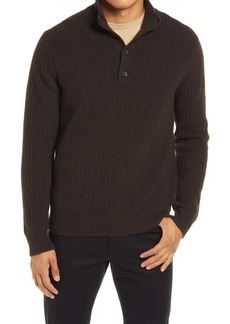 Vince Merino Wool Blend Mock Neck Henley Sweater