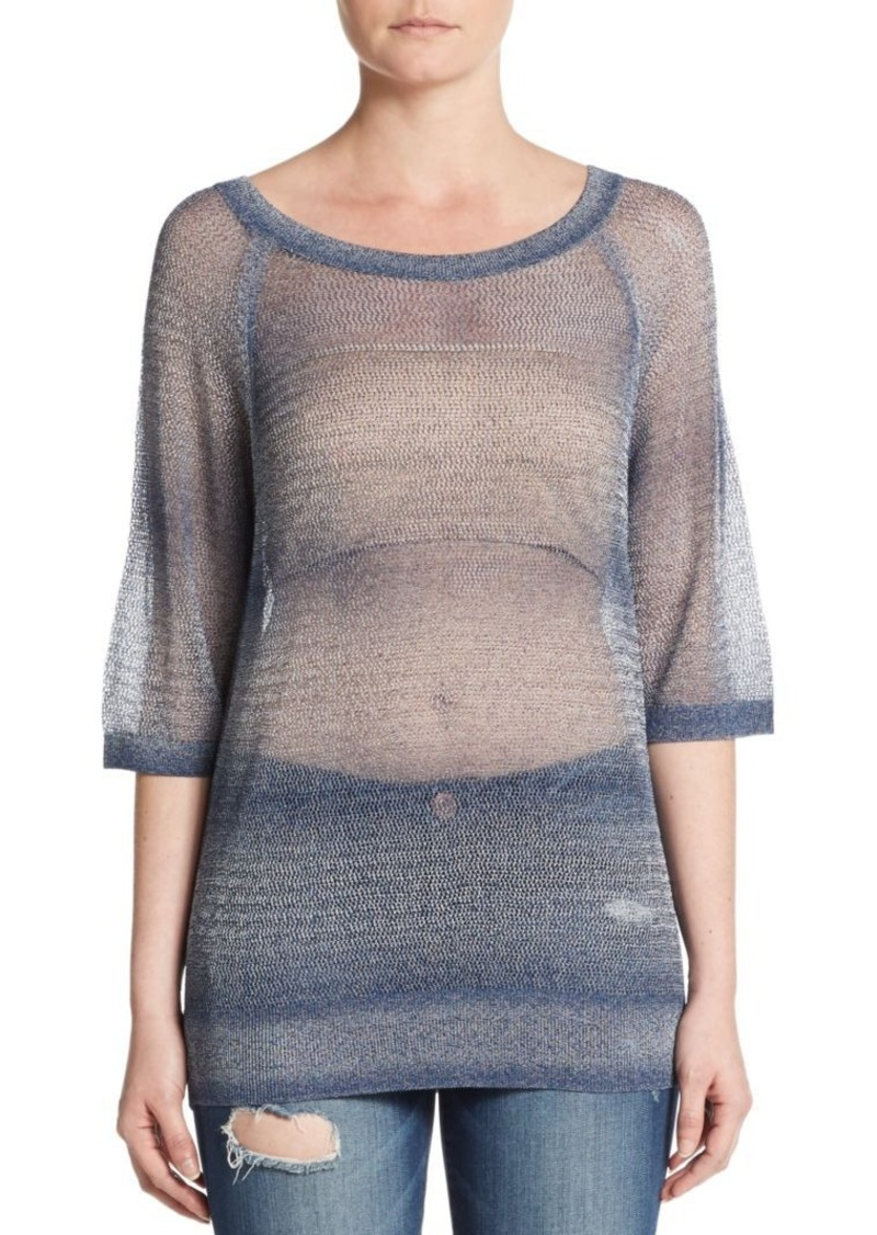 Vince Vince Metallic Sheer Knit Sweater | Sweaters - Shop It To Me