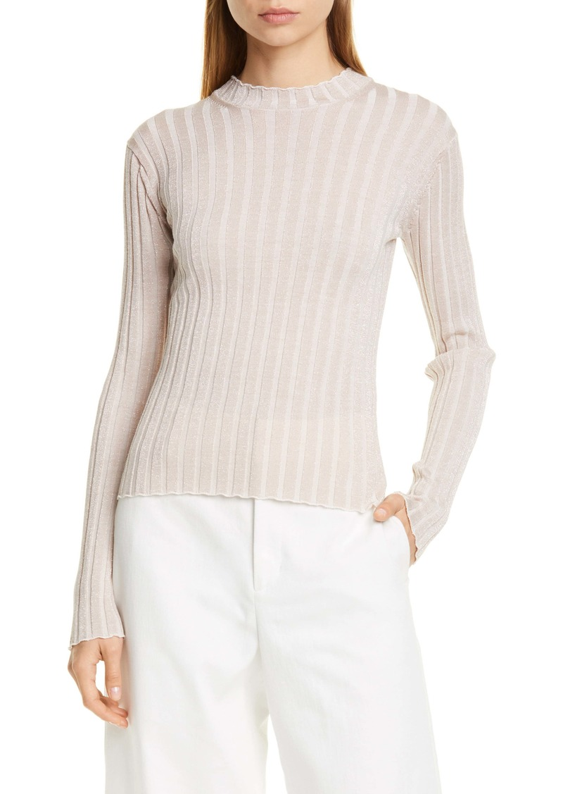 Vince Metallic Thread Ribbed Mock Neck Wool Blend Sweater