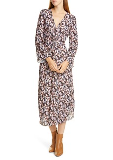 Vince Micro Painted Floral Twist Front Long Sleeve Dress