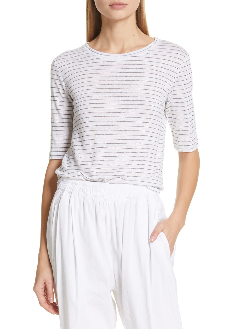 Vince Micro Stripe Elbow Sleeve Linen Top