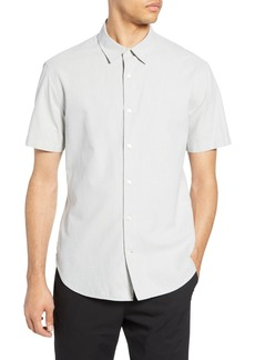 Vince Micro Stripe Slim Fit Short Sleeve Shirt