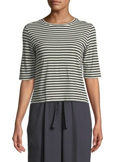 Vince Midi Striped Silk/Viscose Cropped Tee