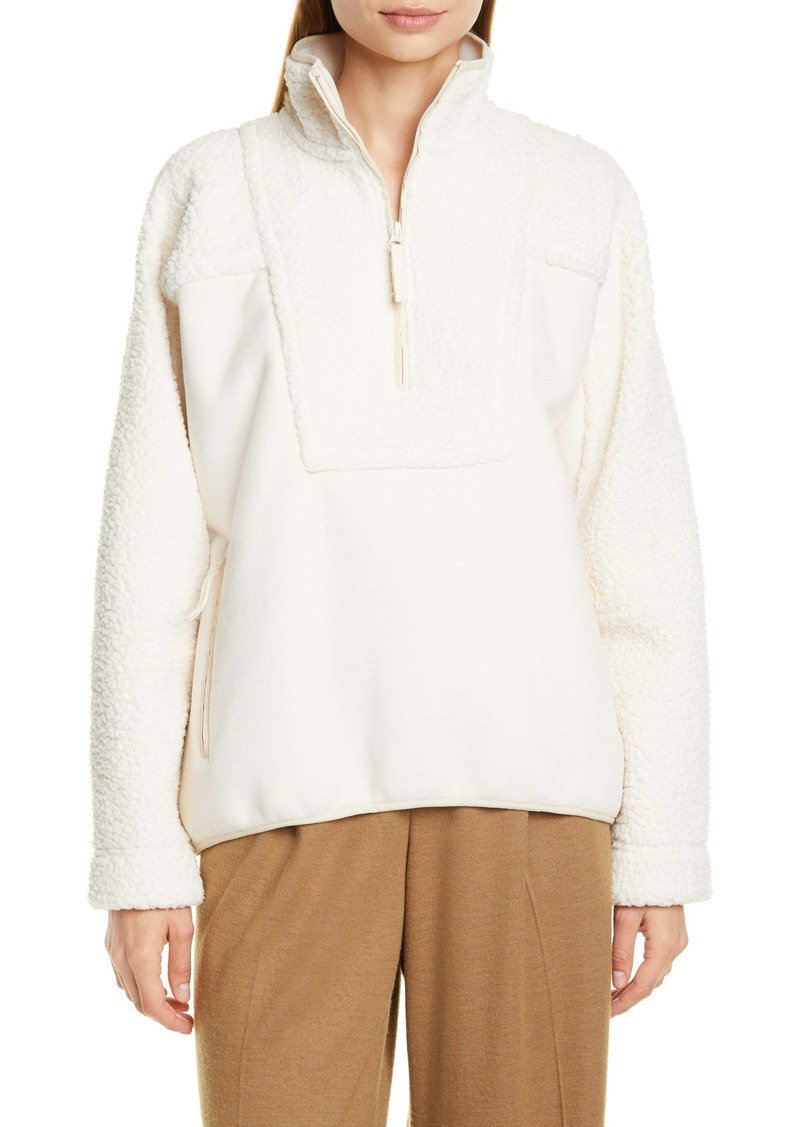 Vince Mix Media Half-Zip Pullover Top