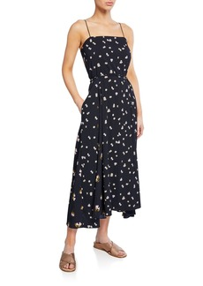 Vince Mixed Ditzy Hibiscus Spaghetti-Strap Dress