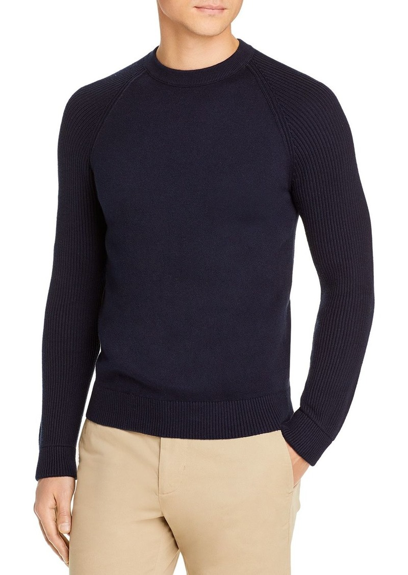 Vince Mixed Knit Ribbed Crewneck Sweater