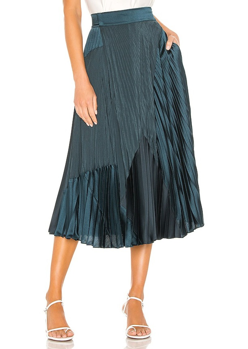Vince Mixed Media Pleated Skirt
