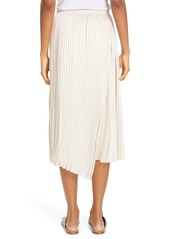 Vince Mixed Pleat Wrap Midi Skirt