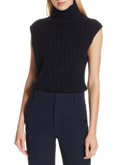 Vince Mixed Rib Wool & Cashmere Sleeveless Sweater