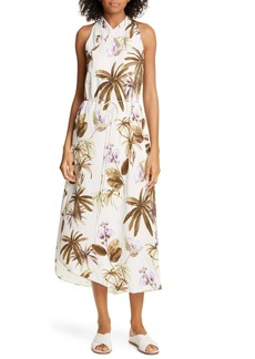 Vince Mixed Tropical Garden Asymmetrical Hem Midi Dress