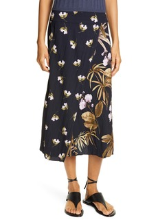 Vince Mixed Tropical Garden Midi Skirt