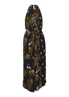 Vince Mixed Tropical Garden Printed Crepe Dress