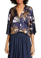 Vince Mixed Tropical Garden Silk PJ Shirt