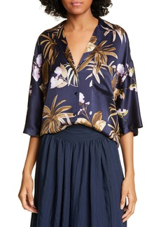 Vince Mixed Tropical Garden Silk PJ Shirt