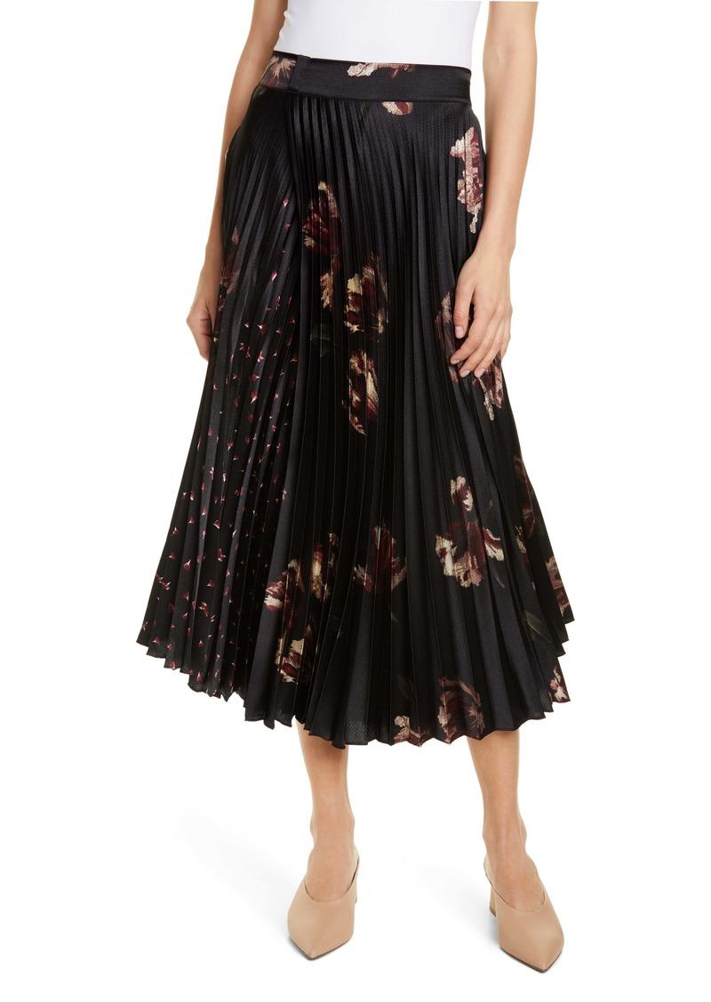 Vince Mixed Tulip Print Pleated Midi Skirt