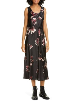 Vince Mixed Tulip Print Silk Dress