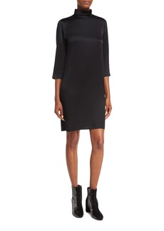 Vince Mock-Neck 3/4-Sleeve Satin Shift Dress