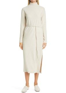 Vince Mock Neck Long Sleeve Cotton Blend Dress
