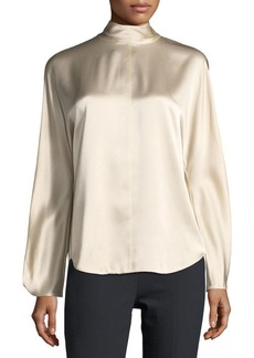 Vince Mock-Neck Long-Sleeve Satin Blouse