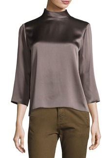 Vince Mock-Neck Silk Blouse
