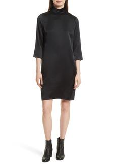 Vince Mock Neck Silk Shift Dress