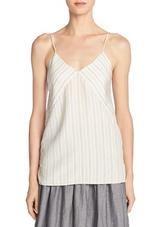 Vince Monotone Striped Silk V-Neck Camisole