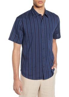 Vince Multi Stripe Slim Fit Short Sleeve Sport Shirt
