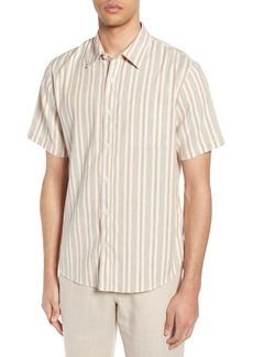 Vince Multi Stripe Slim Fit Short Sleeve Sport Shirt