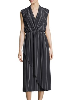 Vince Multi-Stripe Silk Cross-Front Dress