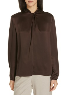 Vince Neck Knot Silk Blouse