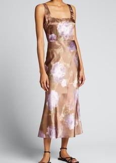 Vince Night Garden Square-Neck Midi Satin Slip Dress