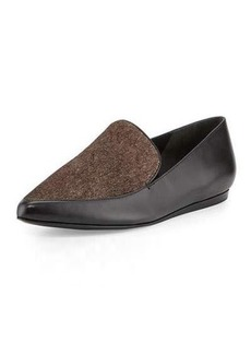 Vince Nikita Pointed-Toe Calf-Hair/Leather Loafer