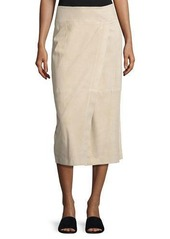 Vince Nubuck Leather Wrap Skirt
