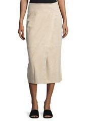 Vince Nubuck Leather Wrap Skirt
