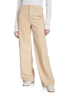 Vince Nubuck Wide-Leg Leather Pants