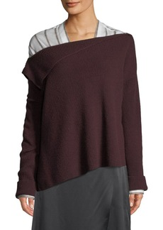 Vince Off-Shoulder Asymmetric Cashmere Pullover Sweater
