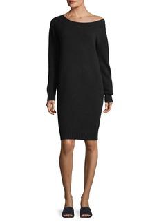 Vince Off-the-Shoulder Long-Sleeve Wool-Cashmere Dress