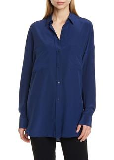 Vince Oversize Silk Button-Up Blouse