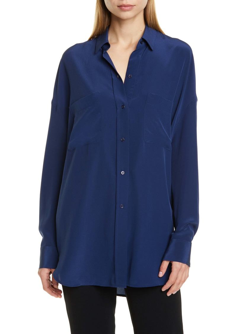 Vince Oversize Silk Button-Up Blouse