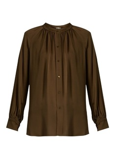 Vince Oversized gathered silk blouse