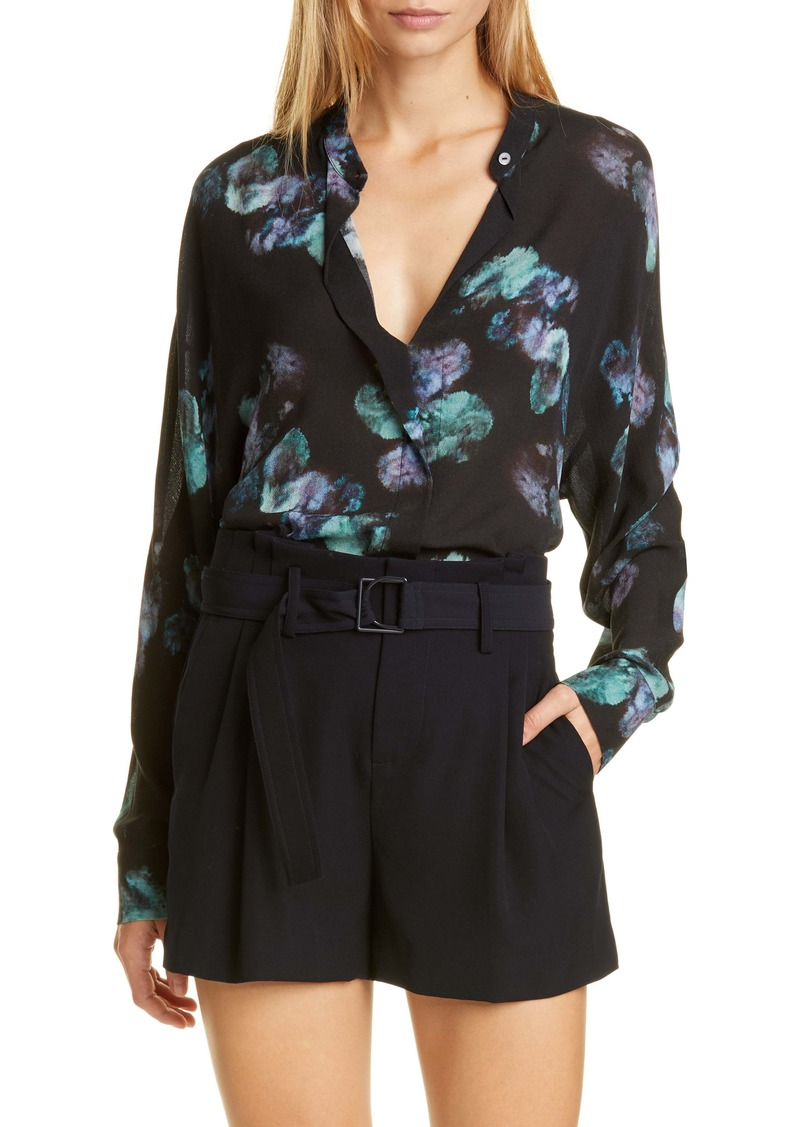 Vince Painted Floral Silk Blouse