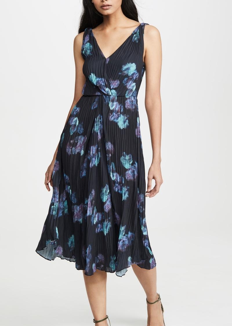Vince Painted Floral Twist Front Dress