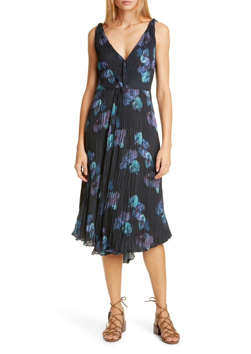 Vince Painted Floral Twist Front Sleeveless Plissé Dress