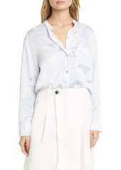 Vince Painted Magnolia Band Collar Blouse