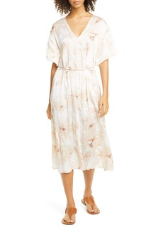 Vince Painted Magnolia Tie Waist Midi Dress