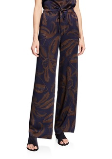 Vince Palm Leaf-Print Silk Satin Drawstring PJ Pants