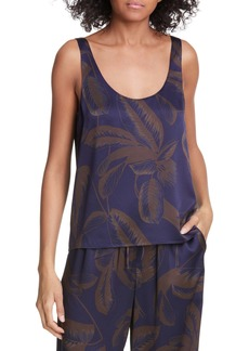 Vince Palm Leaf Silk Satin Tank