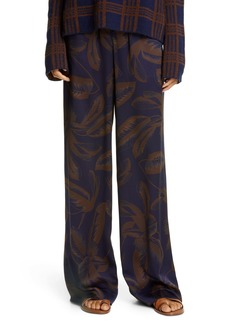 Vince Palm Leaf Silk Wide Leg Pants