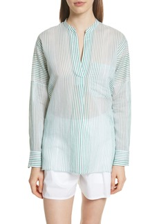 Vince Pencil Stripe Cotton & Silk Tunic